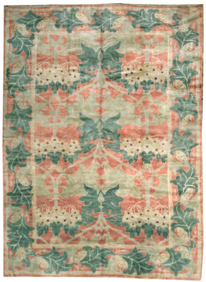 n1021 - Transitional Arts and Crafts Rug (Wool) - 9' x 12' | OAKRugs by Chelsea affordable wool rugs, handmade wool area rugs, wool and silk rugs contemporary