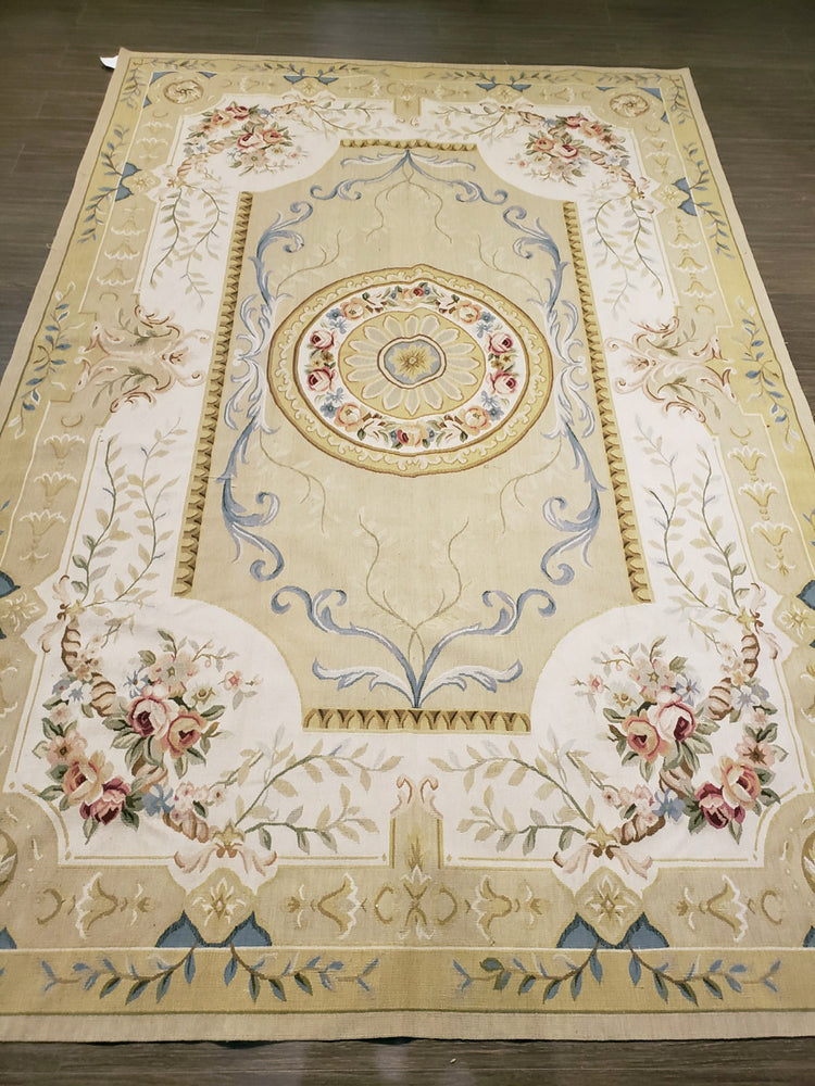 n10 - European Aubusson Rug (Wool) - 9' x 12' | OAKRugs by Chelsea antique wall rugs, handmade antique art rugs, European antique rugs