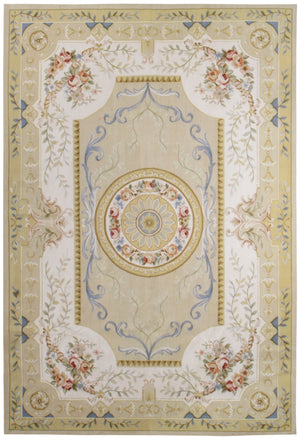 n10 - European Aubusson Rug (Wool) - 9' x 12' | OAKRugs by Chelsea 100 percent wool area rugs, vintage braided rugs for sale, antique tapestry rugs