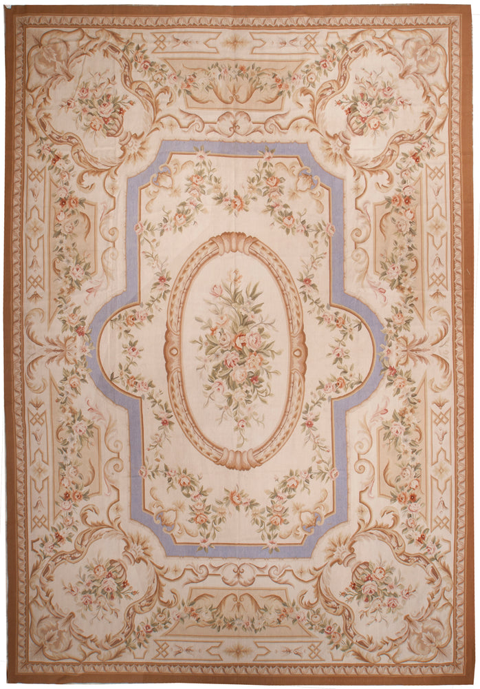 n18 - European Aubusson Rug (Wool) - 10' x 14' | OAKRugs by Chelsea 100 percent wool area rugs, vintage braided rugs for sale, antique tapestry rugs