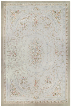 n208 - European Aubusson Rug (Wool) - 12' x 18' | OAKRugs by Chelsea 100 percent wool area rugs, vintage braided rugs for sale, antique tapestry rugs