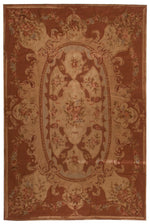 n218 - European Aubusson Rug (Wool) - 6' x 9' | OAKRugs by Chelsea 100 percent wool area rugs, vintage braided rugs for sale, antique tapestry rugs