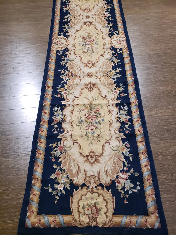 n219 - European Aubusson Rug (Wool) - 3' x 12' | OAKRugs by Chelsea second hand wool rugs, wool area rugs traditional, classical antique European rugs
