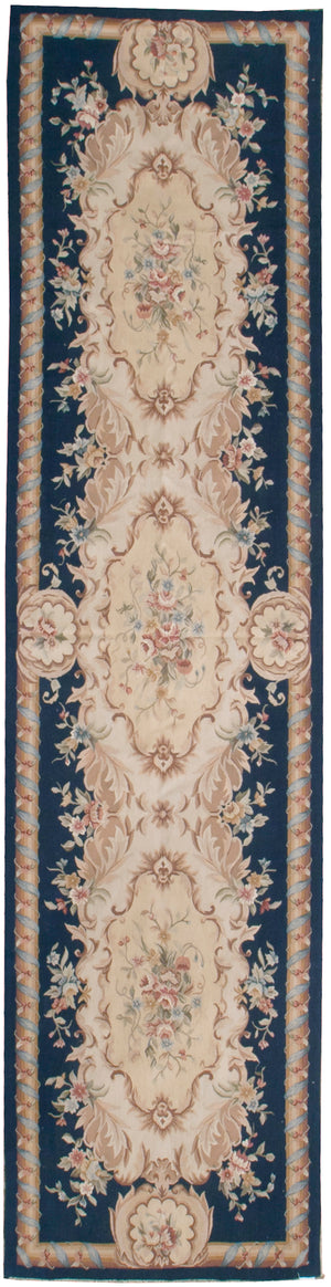 n219 - European Aubusson Rug (Wool) - 3' x 12' | OAKRugs by Chelsea 100 percent wool area rugs, vintage braided rugs for sale, antique tapestry rugs