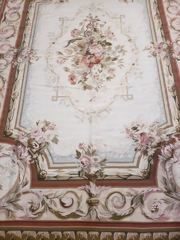 n26 - European Aubusson Rug (Wool) - 8' x 10' | OAKRugs by Chelsea second hand wool rugs, wool area rugs traditional, classical antique European rugs