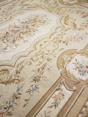 n28 - European Aubusson Rug (Wool) - 12' x 15' | OAKRugs by Chelsea antique wall rugs, handmade antique art rugs, European antique rugs
