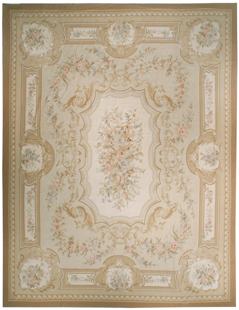 n28 - European Aubusson Rug (Wool) - 12' x 15' | OAKRugs by Chelsea 100 percent wool area rugs, vintage braided rugs for sale, antique tapestry rugs