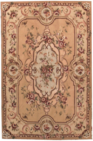 n3080 - European Aubusson Rug (Wool) - 4' x 6' | OAKRugs by Chelsea 100 percent wool area rugs, vintage braided rugs for sale, antique tapestry rugs