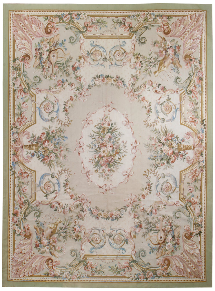 n33 - European Aubusson Rug (Wool) - 9' x 12' | OAKRugs by Chelsea second hand wool rugs, wool area rugs traditional, classical antique European rugs
