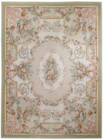 n33 - European Aubusson Rug (Wool) - 9' x 12' | OAKRugs by Chelsea 100 percent wool area rugs, vintage braided rugs for sale, antique tapestry rugs