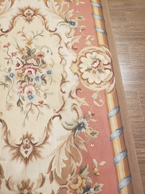 n391 - European Aubusson Rug (Wool) - 3' x 12' | OAKRugs by Chelsea second hand wool rugs, wool area rugs traditional, classical antique European rugs