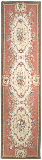 n391 - European Aubusson Rug (Wool) - 3' x 12' | OAKRugs by Chelsea 100 percent wool area rugs, vintage braided rugs for sale, antique tapestry rugs