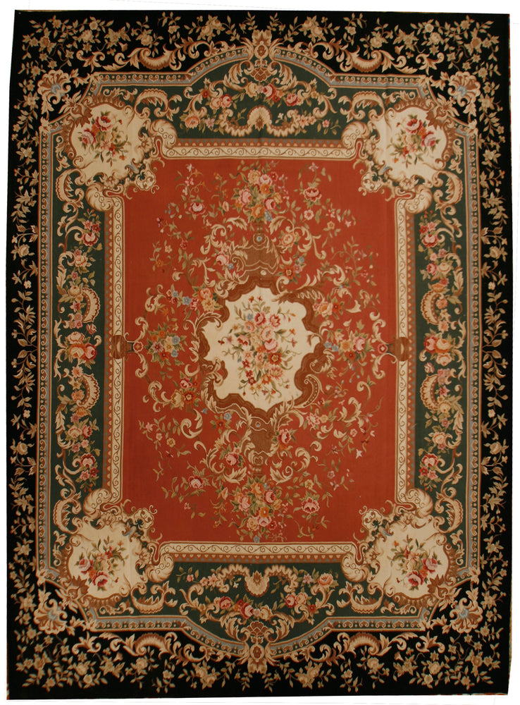 n394 - European Aubusson Rug (Wool) - 9' x 12' | OAKRugs by Chelsea 100 percent wool area rugs, vintage braided rugs for sale, antique tapestry rugs