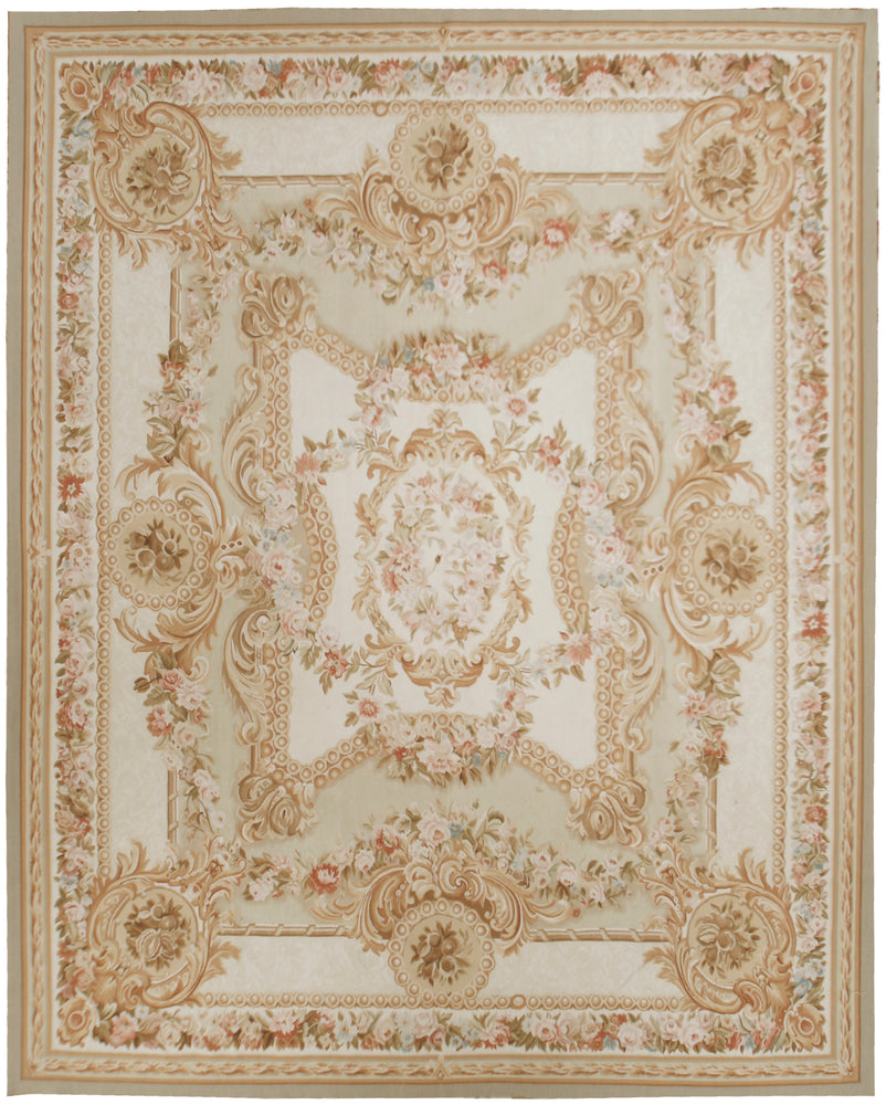 n397 - European Aubusson Rug (Wool) - 8' x 10' | OAKRugs by Chelsea 100 percent wool area rugs, vintage braided rugs for sale, antique tapestry rugs