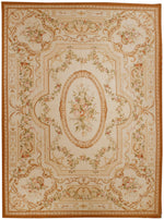 n398 - European Aubusson Rug (Wool) - 9' x 12' | OAKRugs by Chelsea 100 percent wool area rugs, vintage braided rugs for sale, antique tapestry rugs