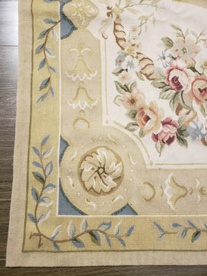 n402 - European Aubusson Rug (Wool) - 6' x 9' | OAKRugs by Chelsea second hand wool rugs, wool area rugs traditional, classical antique European rugs