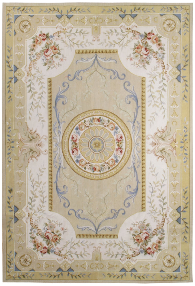 n402 - European Aubusson Rug (Wool) - 6' x 9' | OAKRugs by Chelsea 100 percent wool area rugs, vintage braided rugs for sale, antique tapestry rugs