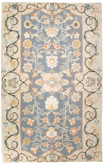 n403 - European Aubusson Rug (Wool) - 6' x 9' | OAKRugs by Chelsea 100 percent wool area rugs, vintage braided rugs for sale, antique tapestry rugs