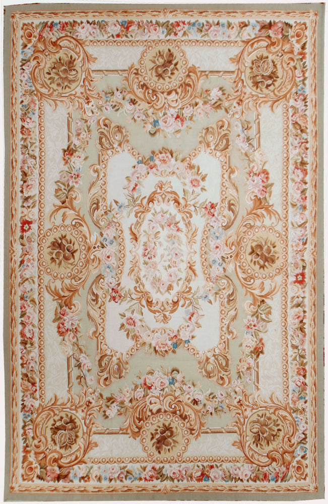 European Aubusson Rug, Wool - 6' x 9' (n459)