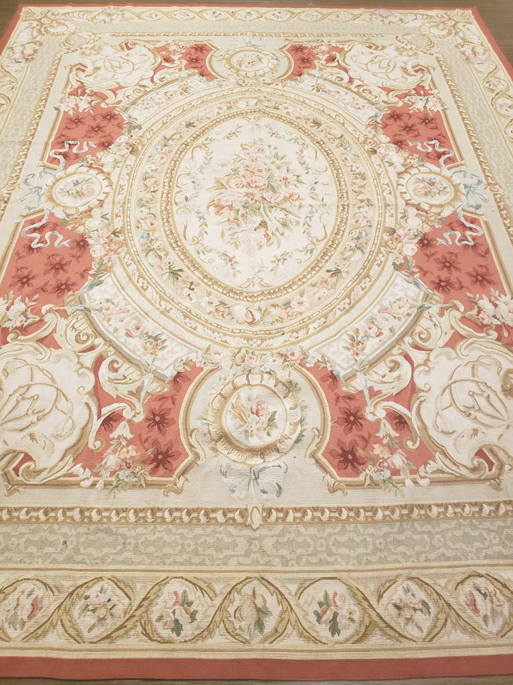 n460 - European Aubusson Rug (Wool) - 8' x 10' | OAKRugs by Chelsea antique wall rugs, handmade antique art rugs, European antique rugs