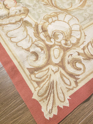 n460 - European Aubusson Rug (Wool) - 8' x 10' | OAKRugs by Chelsea second hand wool rugs, wool area rugs traditional, classical antique European rugs