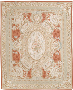 n460 - European Aubusson Rug (Wool) - 8' x 10' | OAKRugs by Chelsea 100 percent wool area rugs, vintage braided rugs for sale, antique tapestry rugs