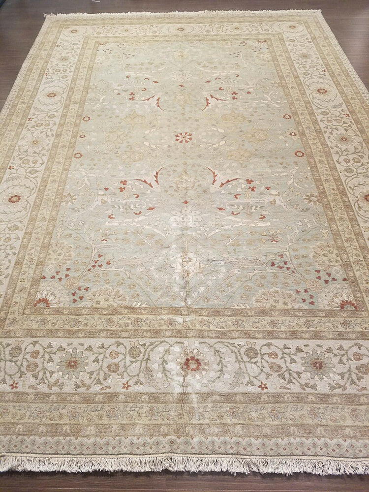 n534 - Classic Tabriz Rug (Wool and Silk) - 9' x 12' | OAKRugs by Chelsea wool bohemian rugs, good quality wool rugs, vintage wool braided rug