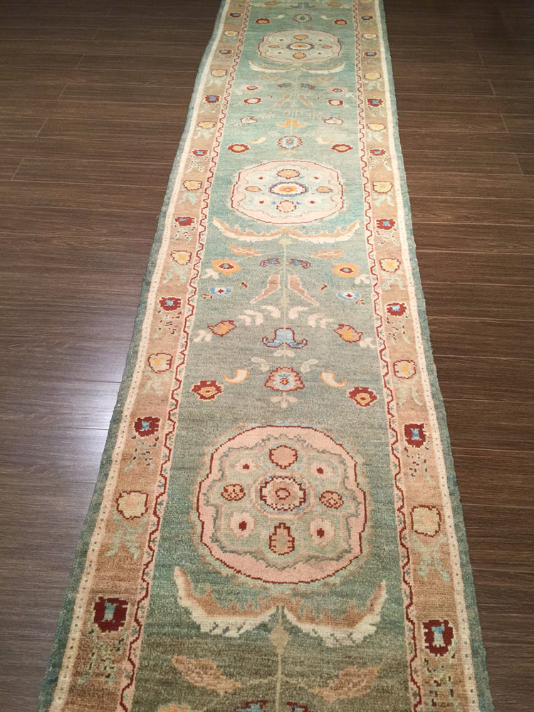 n5967 - Classic Oushak Rug Runner (Wool) - 3' x 19' | OAKRugs by Chelsea wool bohemian rugs, good quality wool rugs, vintage wool braided rug