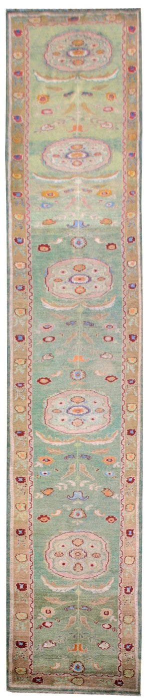 n5967 - Classic Oushak Rug Runner (Wool) - 3' x 19' | OAKRugs by Chelsea affordable wool rugs, handmade wool area rugs, wool and silk rugs contemporary