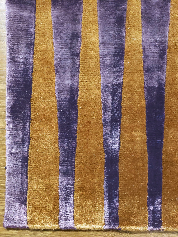 n5992 - Contemporary Modern Rug (Bamboo Silk) - 7' x 10' | OAKRugs by Chelsea wool silk rugs contemporary, handmade modern wool rugs, wool silk area rugs contemporary
