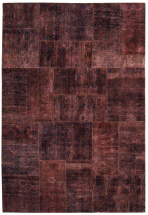 n6044 - Transitional Patchwork Rug (Wool) - 6' x 10' | OAKRugs by Chelsea inexpensive wool rugs, unique wool rugs, wool rug vintage