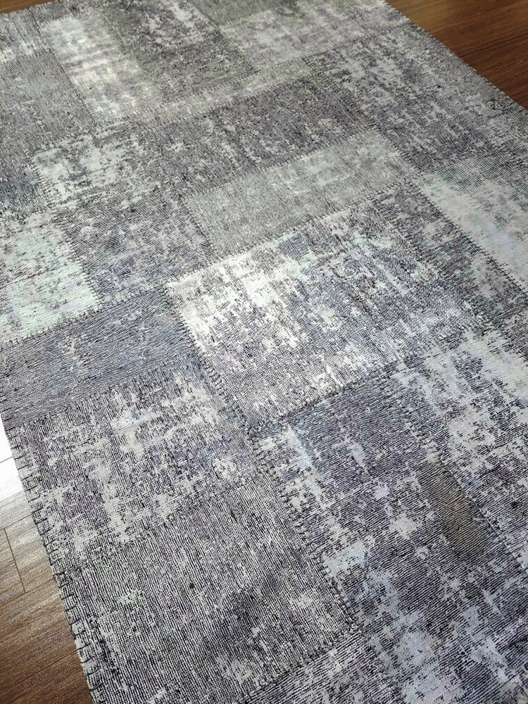 n6045 - Transitional Patchwork Rug (Wool) - 6' x 10' | OAKRugs by Chelsea handmade contemporary rugs, high quality modern hand woven rugs, American made wool rugs