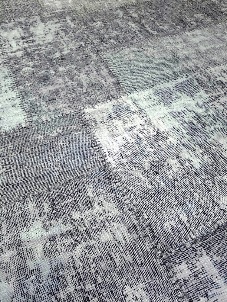 n6045 - Transitional Patchwork Rug (Wool) - 6' x 10' | OAKRugs by Chelsea wool silk rugs contemporary, handmade modern wool rugs, wool silk area rugs contemporary