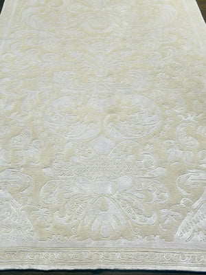 n6066 - Contemporary Damask Rug (Bamboo Silk) - 5' x 7' | OAKRugs by Chelsea handmade contemporary rugs, high quality modern hand woven rugs, American made wool rugs