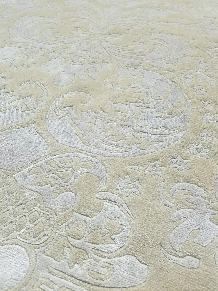 n6066 - Contemporary Damask Rug (Bamboo Silk) - 5' x 7' | OAKRugs by Chelsea wool silk rugs contemporary, handmade modern wool rugs, wool silk area rugs contemporary