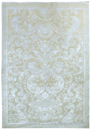 n6066 - Contemporary Damask Rug (Bamboo Silk) - 5' x 7' | OAKRugs by Chelsea inexpensive wool rugs, unique wool rugs, wool rug vintage