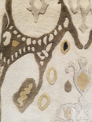 n6073 - Contemporary Abstract Rug (Wool) - 6' x 14' | OAKRugs by Chelsea wool silk rugs contemporary, handmade modern wool rugs, wool silk area rugs contemporary