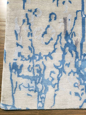 n6086 - Contemporary Abstract Rug (Wool) - 6' x 9' | OAKRugs by Chelsea wool silk rugs contemporary, handmade modern wool rugs, wool silk area rugs contemporary