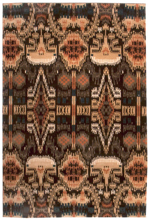 n6087 - Transitional Ikat Rug (Wool) - 6' x 9' | OAKRugs by Chelsea affordable wool rugs, handmade wool area rugs, wool and silk rugs contemporary