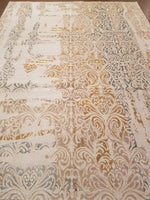 n6089 - Transitional Damask Rug (Wool) - 8' x 10' | OAKRugs by Chelsea wool silk rugs contemporary, handmade modern wool rugs, wool silk area rugs contemporary