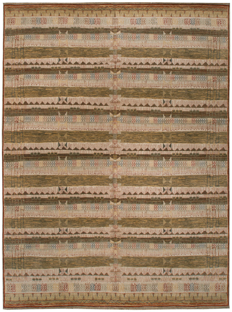 n6090 - Transitional Nandini Rug (Wool) - 9' x 12' | OAKRugs by Chelsea affordable wool rugs, handmade wool area rugs, wool and silk rugs contemporary