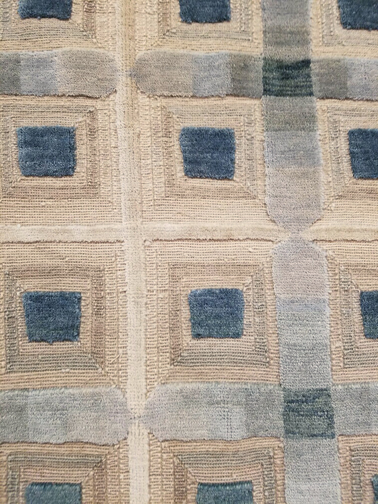 n6092 - Contemporary Embossed Rug (Wool and Silk) - 6' x 9' | OAKRugs by Chelsea wool silk rugs contemporary, handmade modern wool rugs, wool silk area rugs contemporary