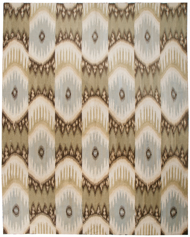 n6102 - Contemporary Kelim Rug (Wool and Silk) - 8' x 10' | OAKRugs by Chelsea inexpensive wool rugs, unique wool rugs, wool rug vintage