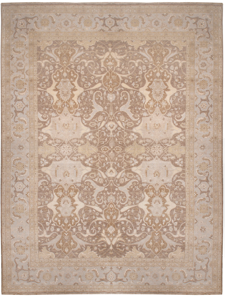 n6108 - Transitional Tabriz Rug (Wool and Silk) - 12' x 15' | OAKRugs by Chelsea affordable wool rugs, handmade wool area rugs, wool and silk rugs contemporary