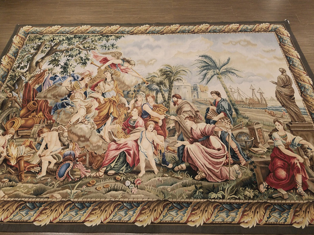 n6123 - European Tapestry Rug (Wool) - 6' x 9' | OAKRugs by Chelsea second hand wool rugs, wool area rugs traditional, classical antique European rugs