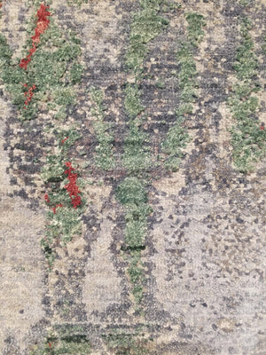 n6156 - Contemporary Abstract Rug (Wool and Silk) - 8' x 10' | OAKRugs by Chelsea wool silk rugs contemporary, handmade modern wool rugs, wool silk area rugs contemporary