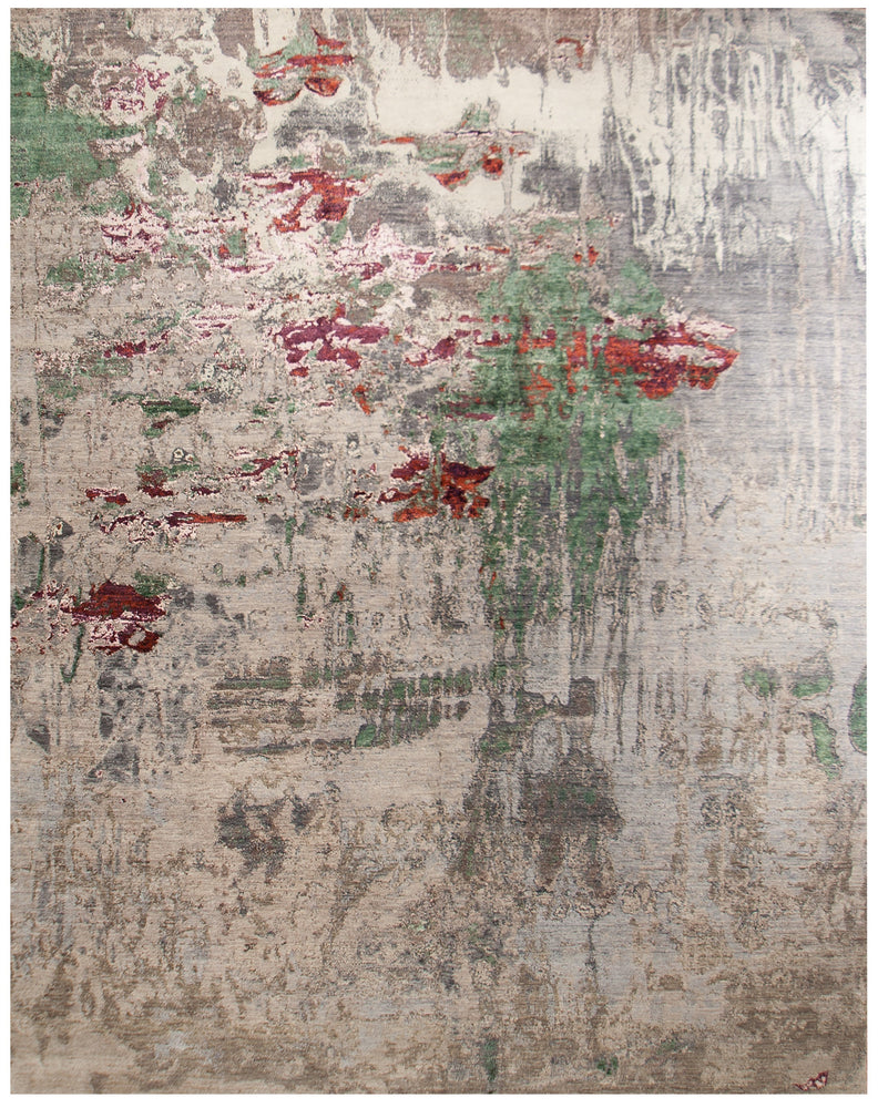 n6156 - Contemporary Abstract Rug (Wool and Silk) - 8' x 10' | OAKRugs by Chelsea inexpensive wool rugs, unique wool rugs, wool rug vintage
