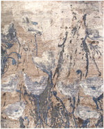 n6158 - Contemporary Abstract Rug (Wool and Silk) - 8' x 10' | OAKRugs by Chelsea inexpensive wool rugs, unique wool rugs, wool rug vintage