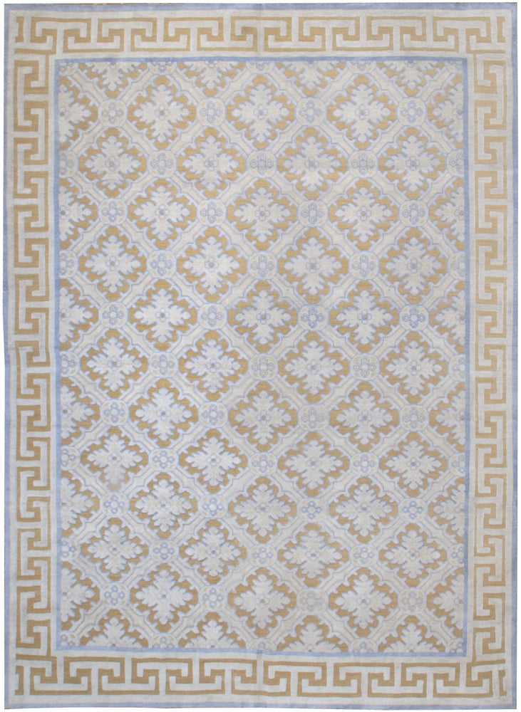 n6193 - Transitional Embossed Rug (Wool and Silk) - 8' x 10' | OAKRugs by Chelsea inexpensive wool rugs, unique wool rugs, wool rug vintage