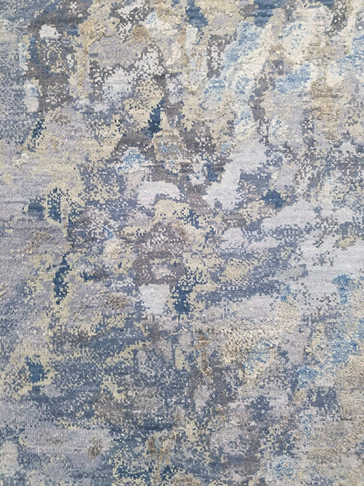 n6197 - Contemporary Abstract Rug (Wool and Silk) - 8' x 10' | OAKRugs by Chelsea wool silk rugs contemporary, handmade modern wool rugs, wool silk area rugs contemporary